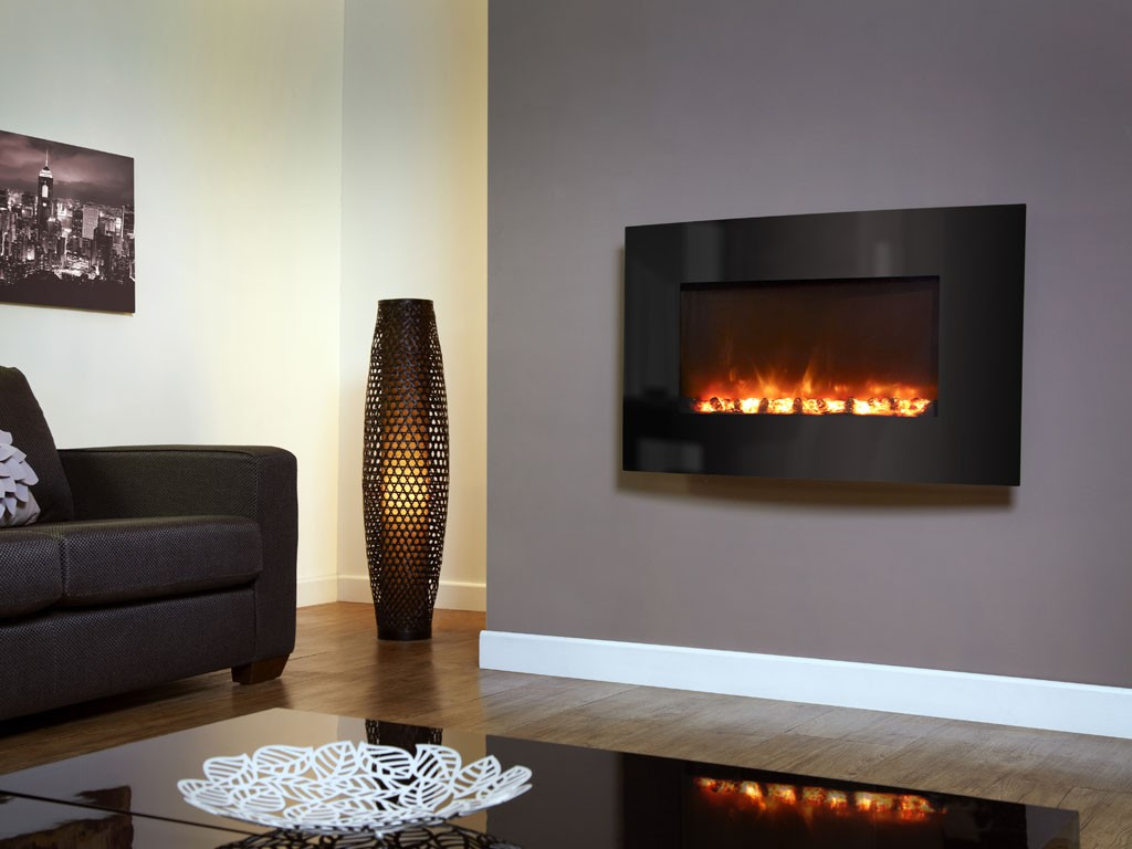 1.8KW Electriflame Curved Black Glass Electric Fire