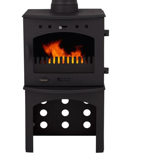 4.7KW Carron Matt Black Multi Fuel Stove with Log Store