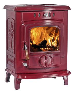 7kW Lilyking 627 Red Enamel Multi Fuel Boiler Stove