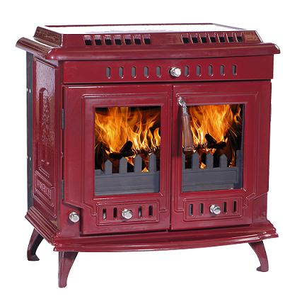 18.5kW Lilyking 667 Red Enamel Multi Fuel Boiler Stove