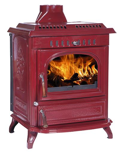 21kW Lilyking 677 Red Enamel Multi Fuel Boiler Stove
