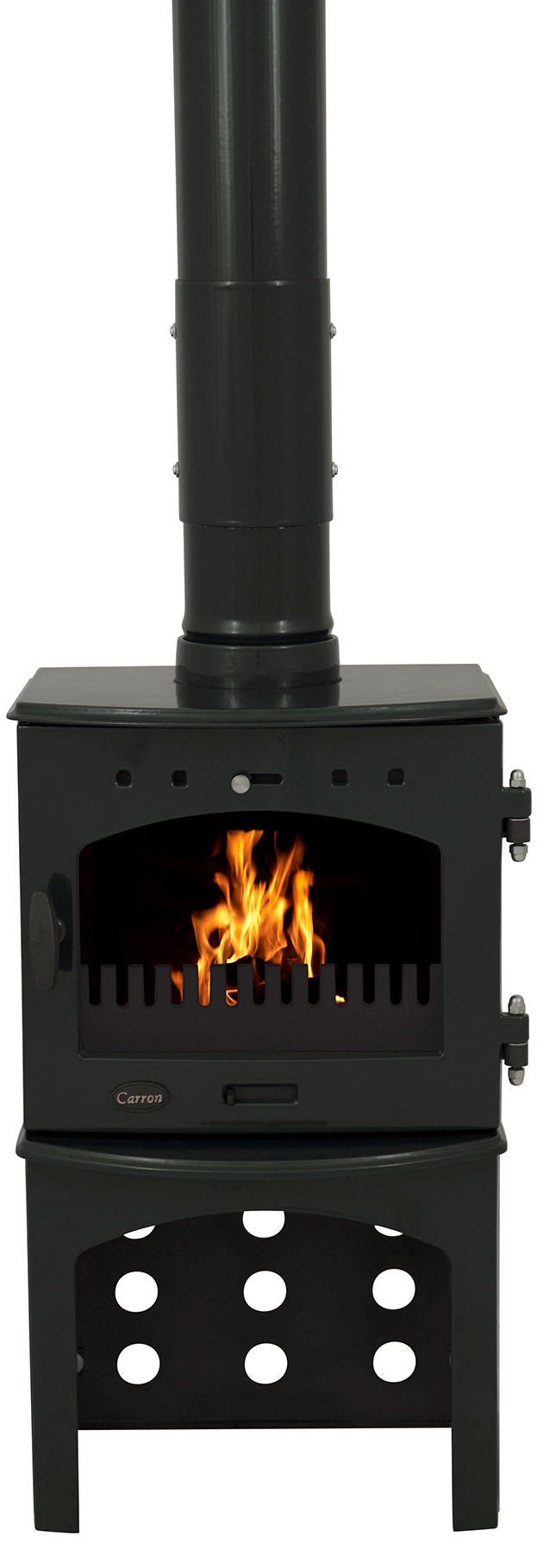 4.7KW Carron Green Enamel SE Multi Fuel Stove with Log Store