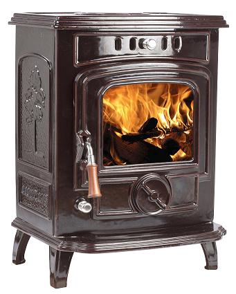 5kW Lilyking 629 Brown Enamel Multi Fuel Stove