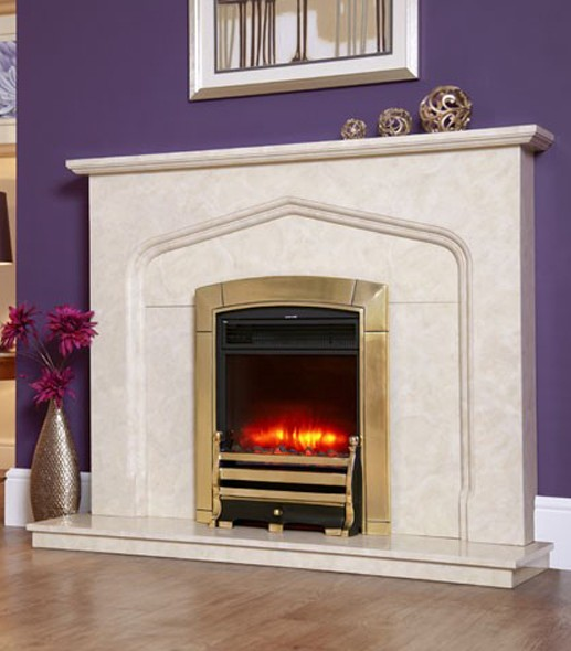 1.8KW Electriflame Caress Daisy Brass Electric Fire