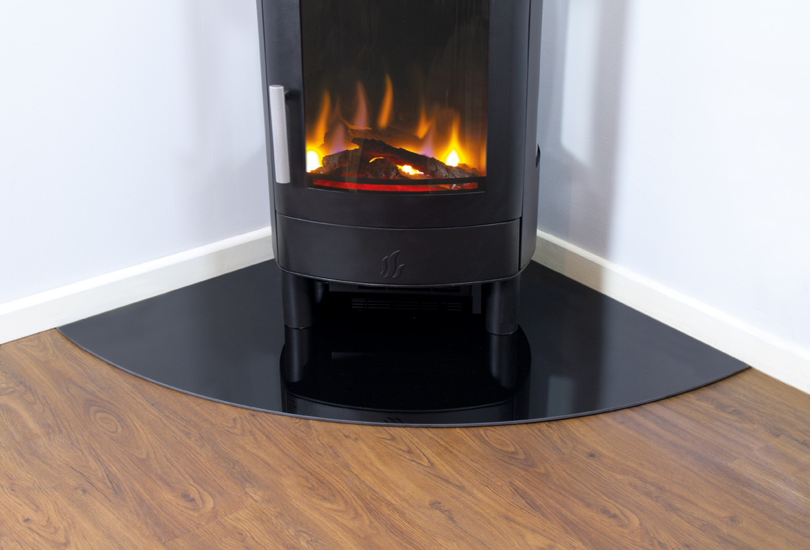 6mm Black Glass Hearth for Electric Stoves