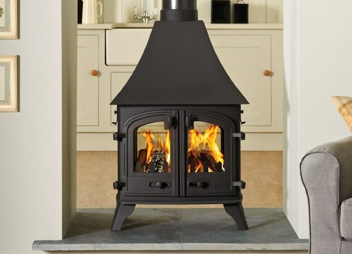 5KW Devon High Canopy Double Sided Conventional Flue Gas Stove
