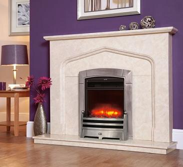1.8KW Electriflame Caress Polished Silver Electric Fire