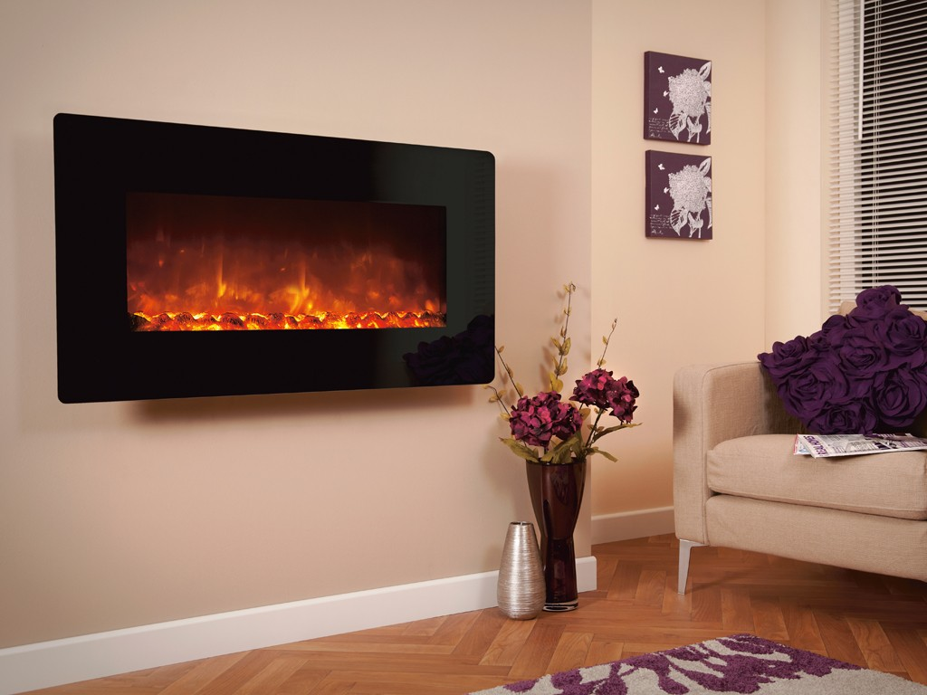 1.8KW Electriflame XD 1100 Black Glass Electric Fire