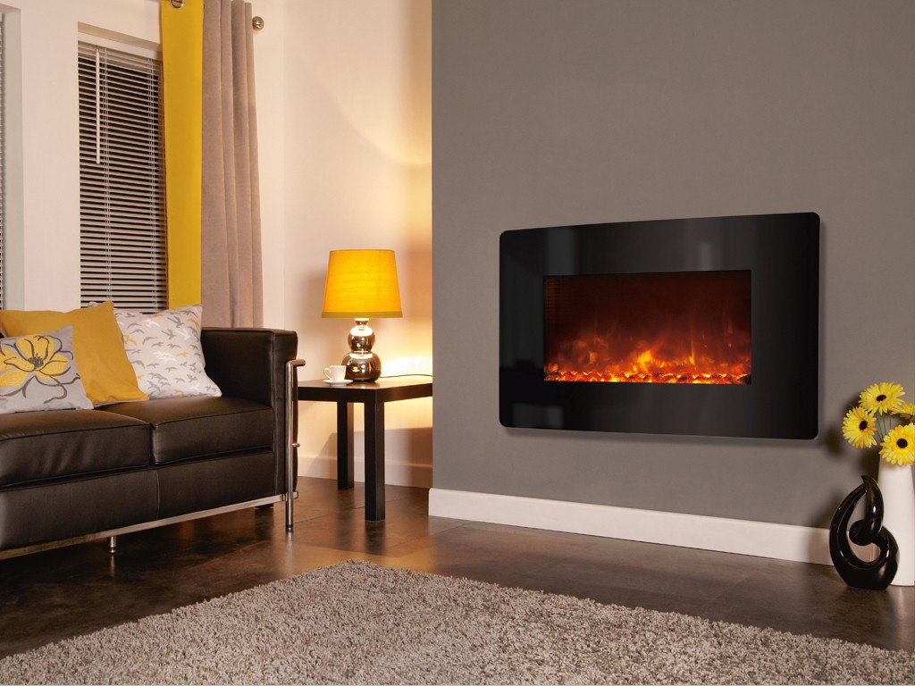 1.8KW Electriflame XD Curved Black Glass Electric Fire