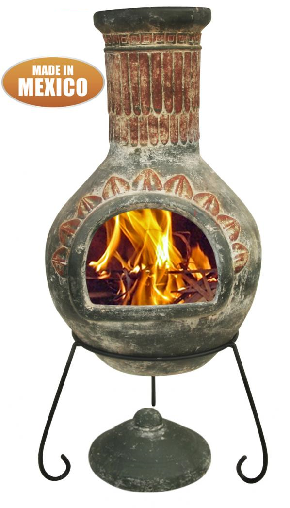 Extra-Large Plumas Mexican Chimenea in Green