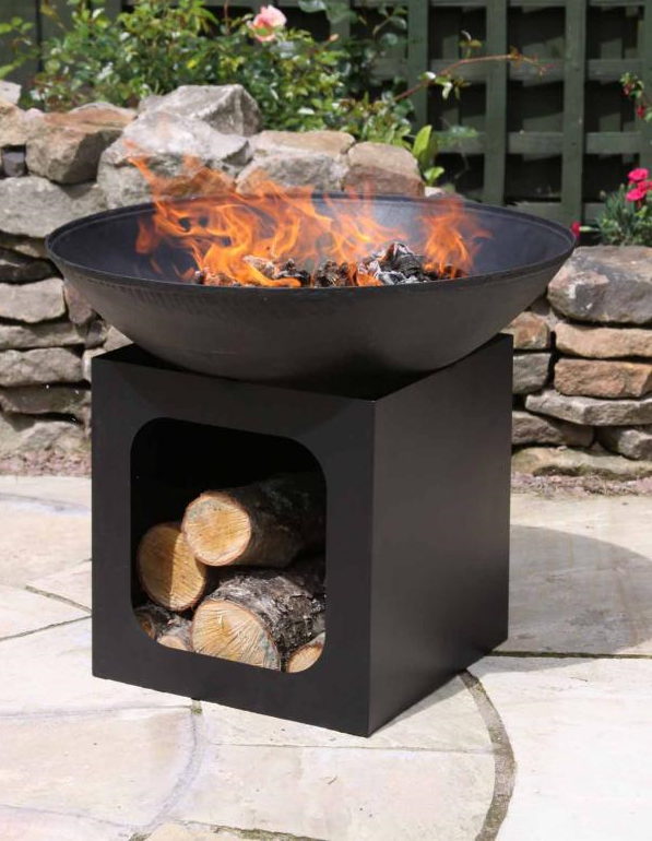 Isla Large Cast Iron Fire Bowl and Log Store