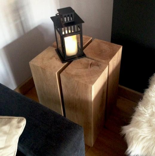 Oak Lamp Stand 300mm x 200mm x 200mm