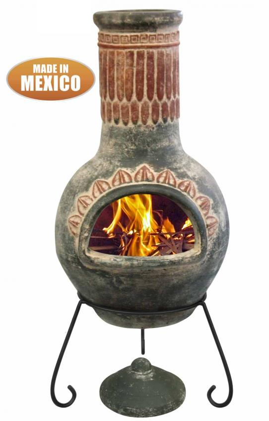Large Plumas Mexican Chimenea in Green