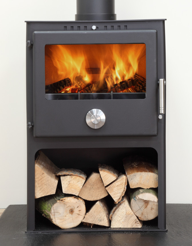 8.7KW Mendip 8 Multi Fuel Boiler Stove with Log Store