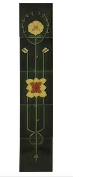 Set of 10 4 Yellow Flowers on Green Tiles