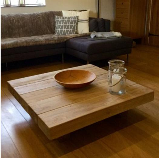Square Oak Sleeper Coffee Table